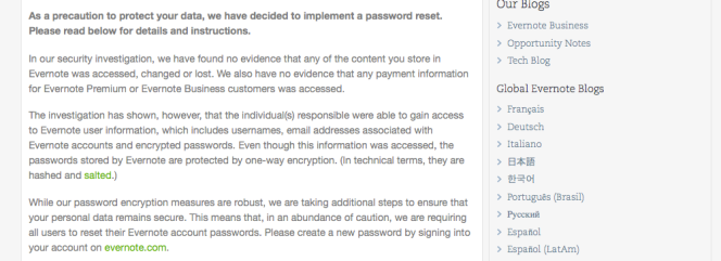 Evernote Security Notice
